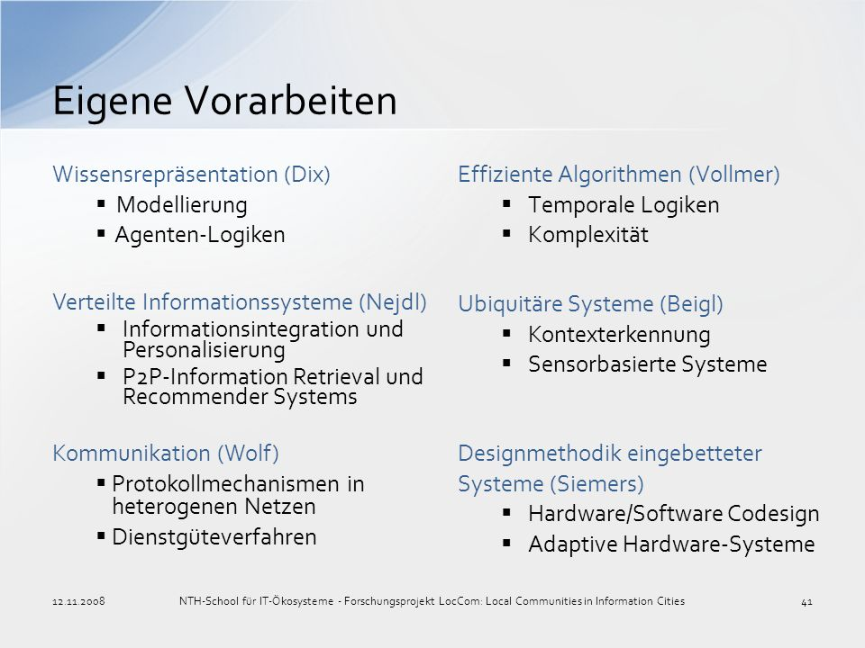 Eigene Vorarbeiten Wissensrepräsentation (Dix) Modellierung