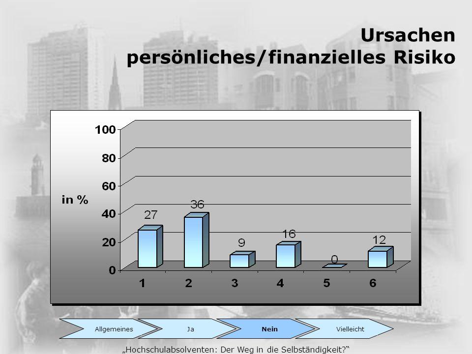 Ursachen persönliches/finanzielles Risiko