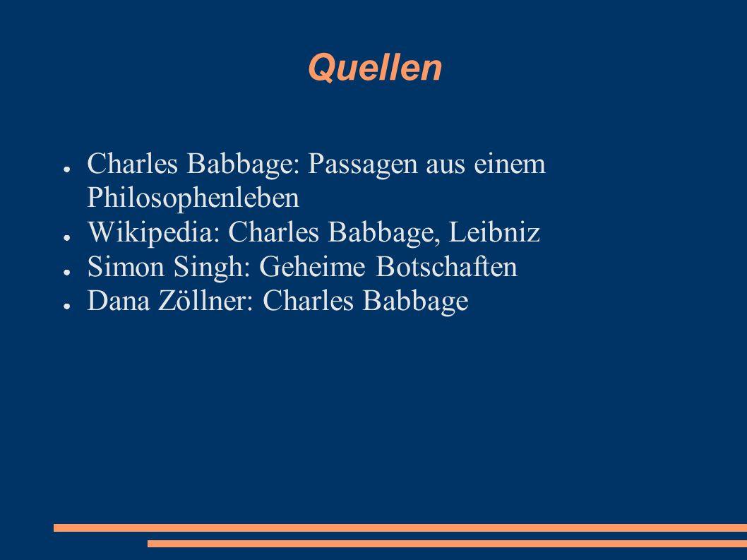 Quellen Charles Babbage: Passagen aus einem Philosophenleben