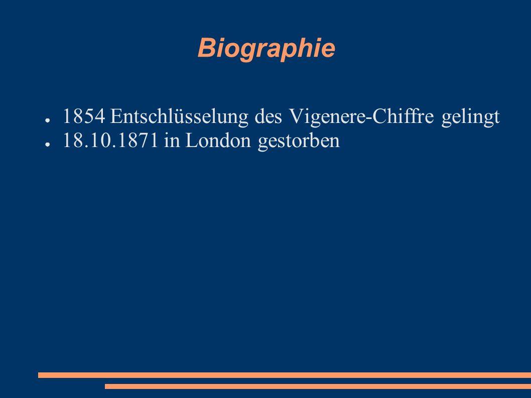Biographie 1854 Entschlüsselung des Vigenere-Chiffre gelingt