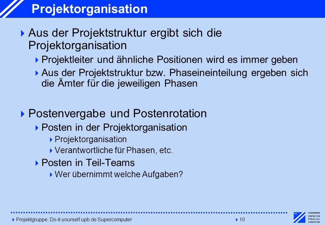 Projektorganisation Aus der Projektstruktur ergibt sich die Projektorganisation. Projektleiter und ähnliche Positionen wird es immer geben.