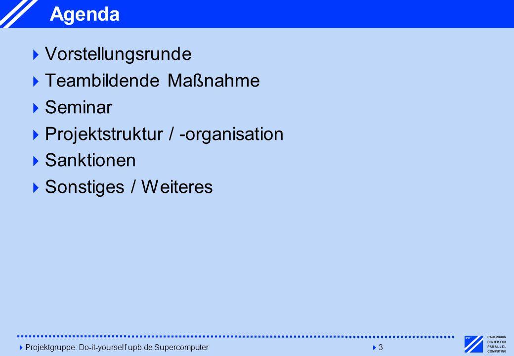 Agenda Vorstellungsrunde Teambildende Maßnahme Seminar
