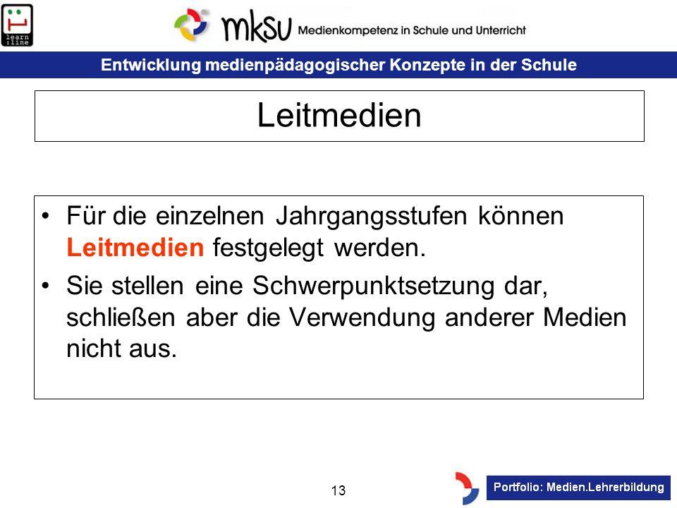 LeitmedienFür die einzelnen Jahrgangsstufen können Leitmedien festgelegt werden.