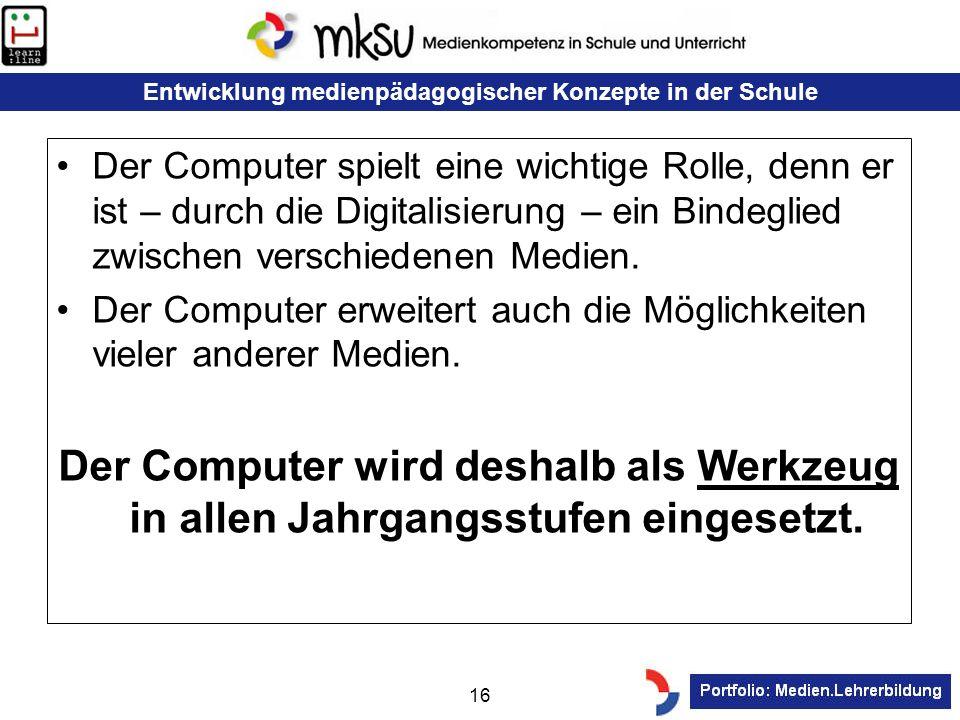 Der Computer spielt eine wichtige Rolle, denn er ist – durch die Digitalisierung – ein Bindeglied zwischen verschiedenen Medien.