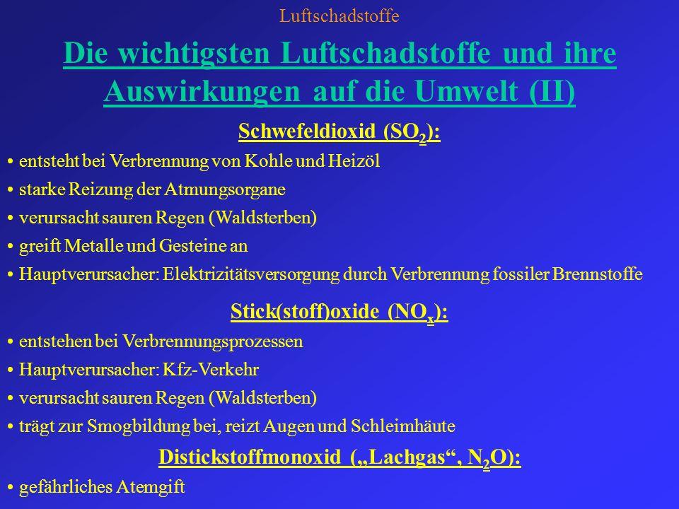 "Stick(stoff)oxide (NOx): Distickstoffmonoxid (""Lachgas , N2O):"