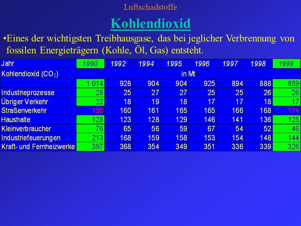 Luftschadstoffe Kohlendioxid.