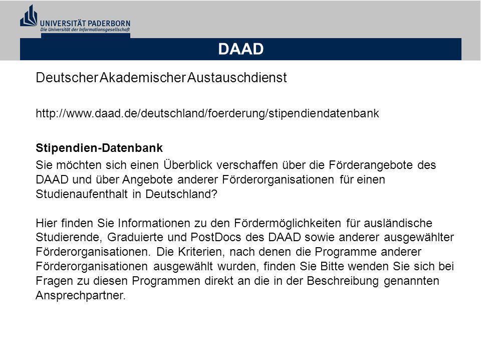 DAAD Deutscher Akademischer Austauschdienst