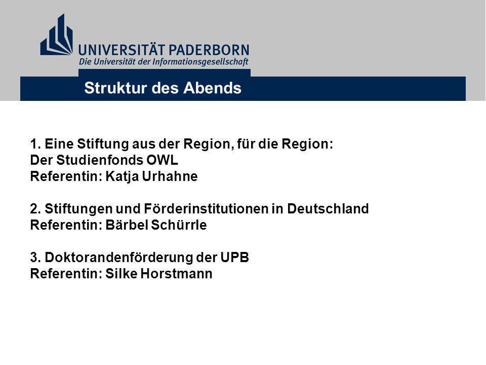 Struktur des Abends 1. Eine Stiftung aus der Region, für die Region: