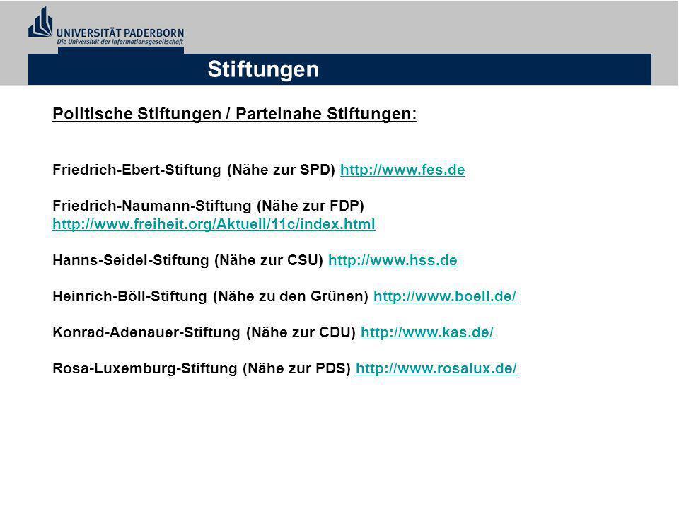 Stiftungen Politische Stiftungen / Parteinahe Stiftungen: