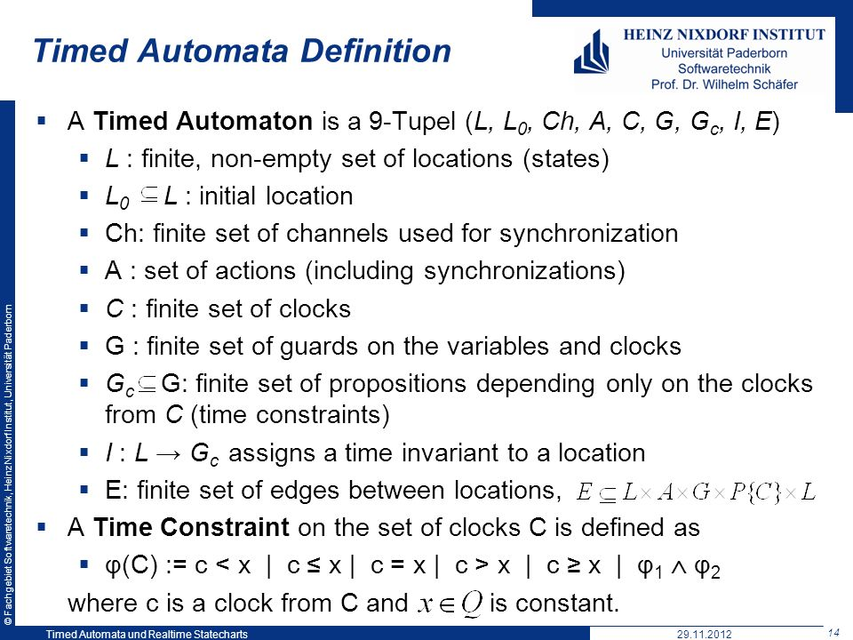 Timed Automata Definition