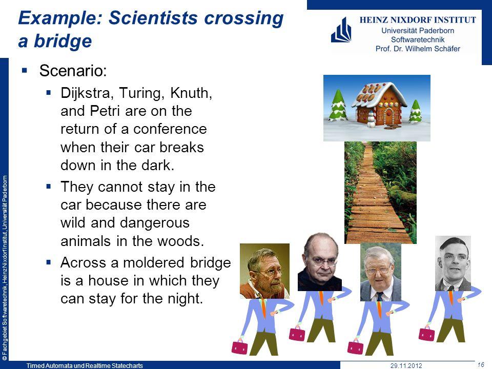 Example: Scientists crossing a bridge