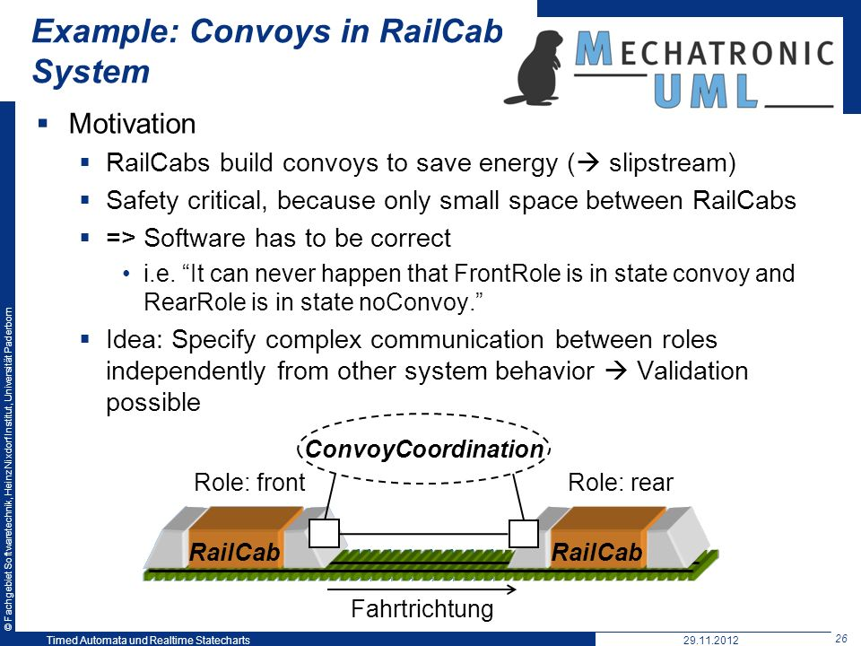 Example: Convoys in RailCab System