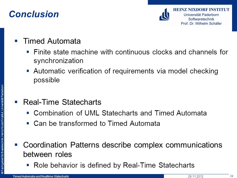 Conclusion Timed Automata Real-Time Statecharts