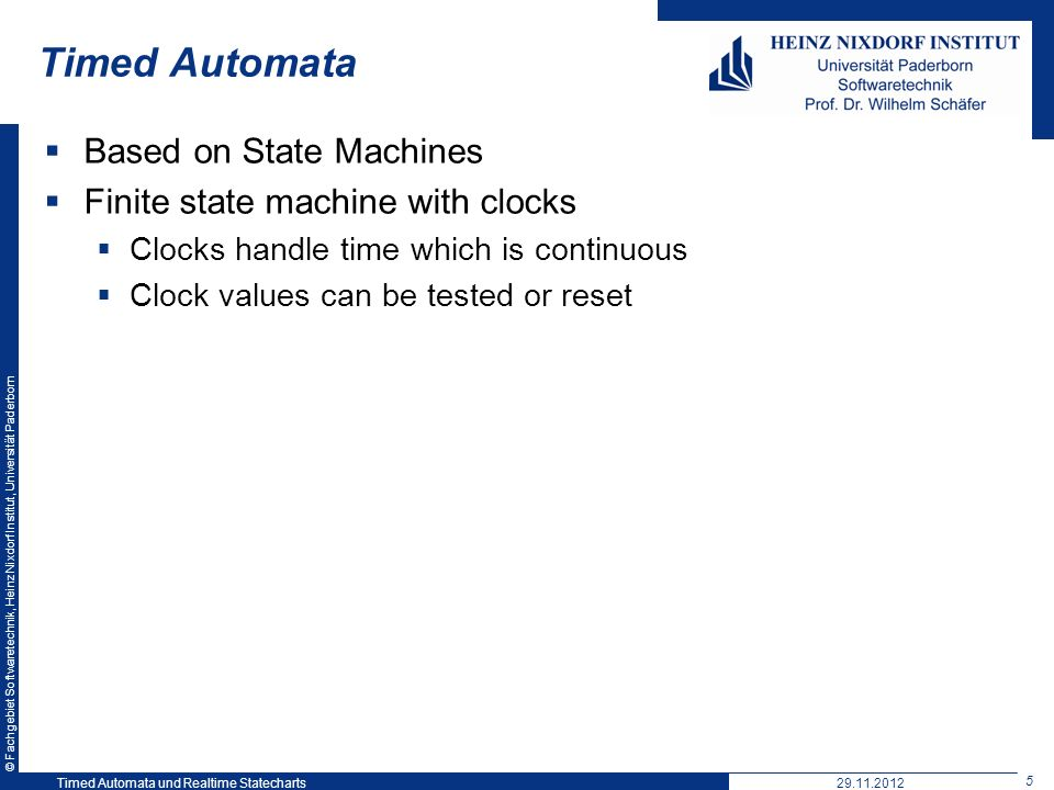 Timed Automata Based on State Machines