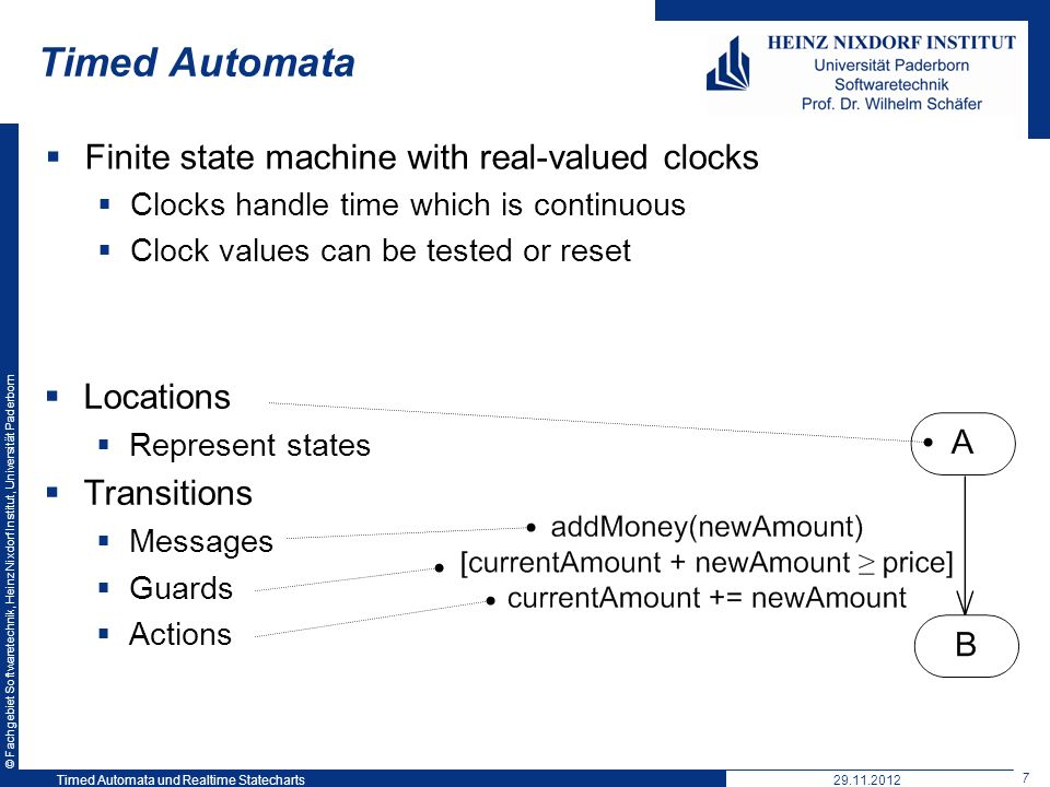 Timed Automata Finite state machine with real-valued clocks Locations