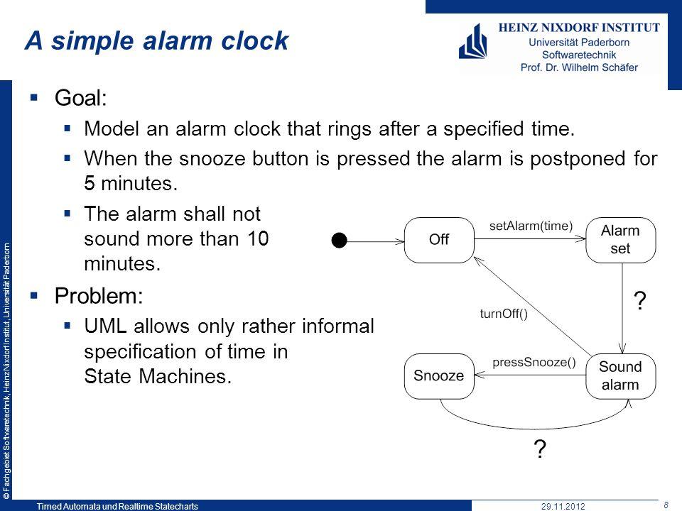 A simple alarm clock Goal: Problem: