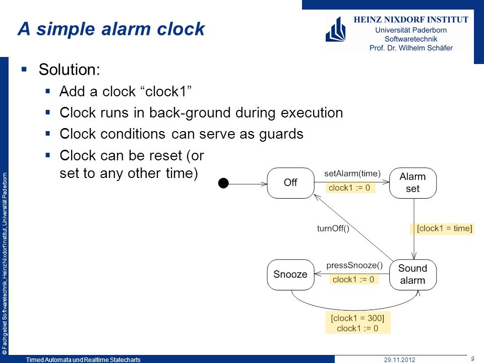 A simple alarm clock Solution: Add a clock clock1