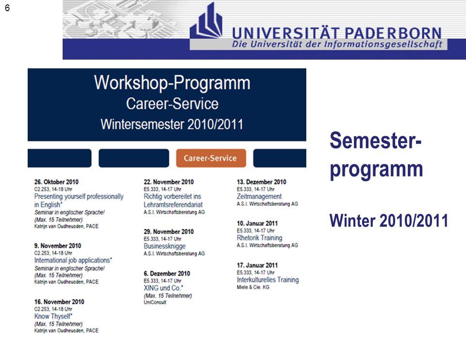 Semester- programm Winter 2010/2011