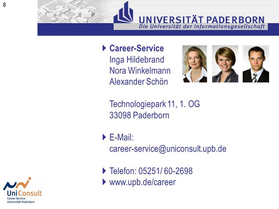 Career-Service Inga Hildebrand. Nora Winkelmann. Alexander Schön. Technologiepark 11, 1. OG. 33098 Paderborn.