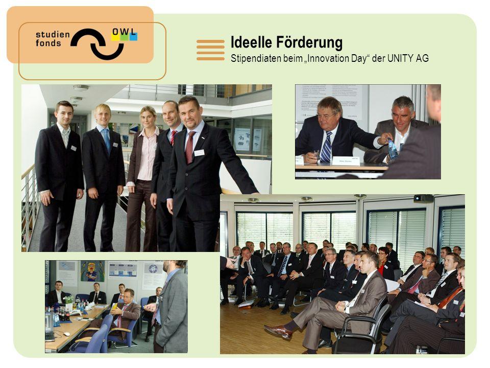 """Ideelle Förderung Stipendiaten beim """"Innovation Day der UNITY AG"""