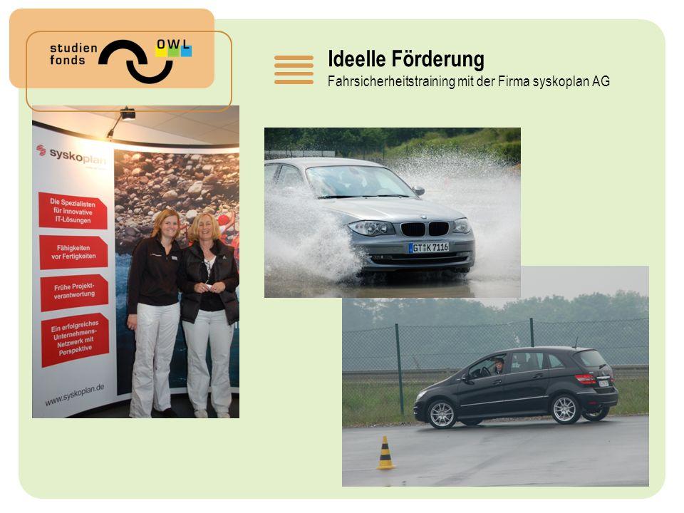 Ideelle Förderung Fahrsicherheitstraining mit der Firma syskoplan AG