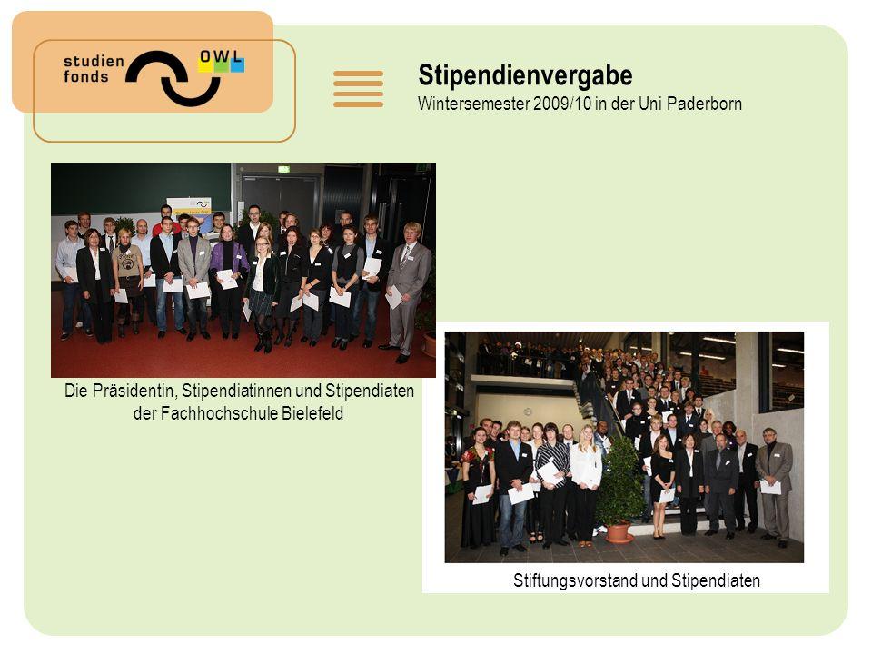 Stipendienvergabe Wintersemester 2009/10 in der Uni Paderborn