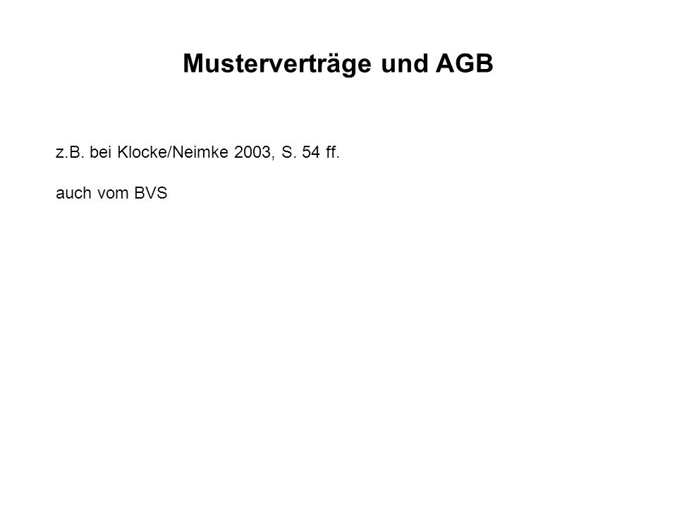 Musterverträge und AGB