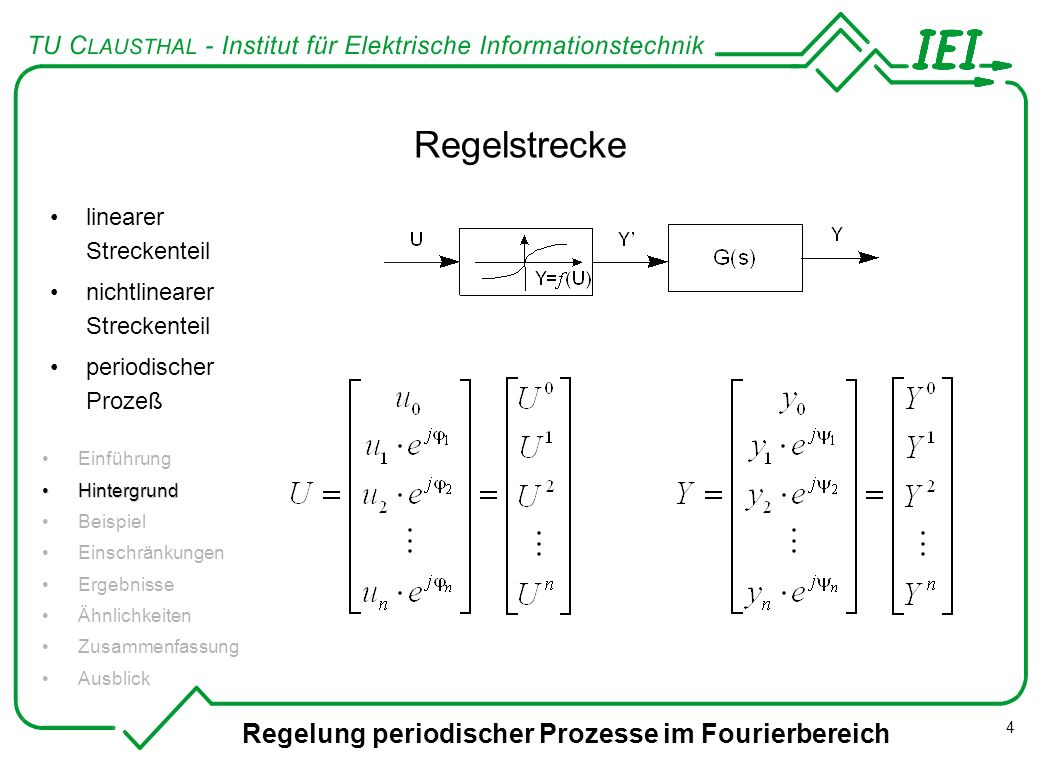 Regelstrecke Regelung periodischer Prozesse im Fourierbereich
