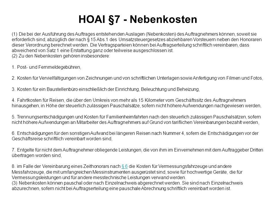 HOAI §7 - Nebenkosten