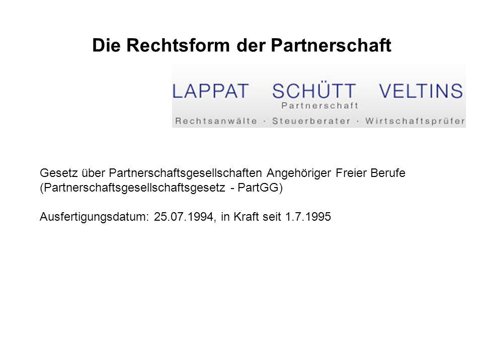 Die Rechtsform der Partnerschaft