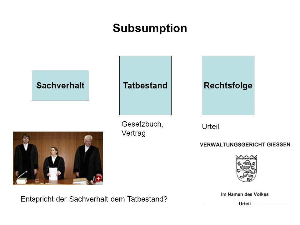Subsumption Tatbestand Rechtsfolge Sachverhalt Gesetzbuch, Vertrag