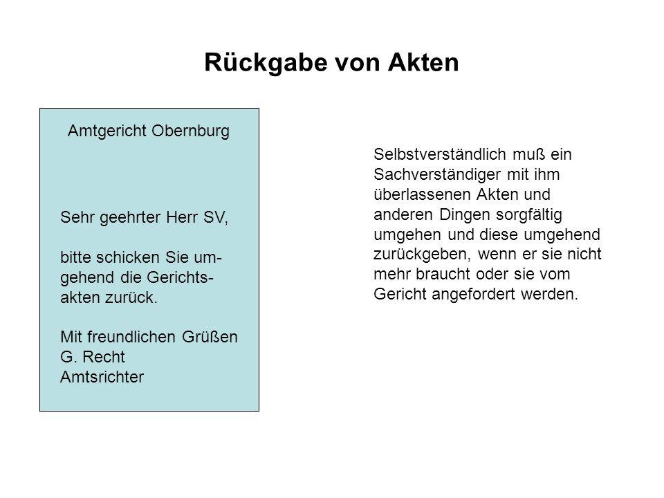 Rückgabe von Akten Amtgericht Obernburg