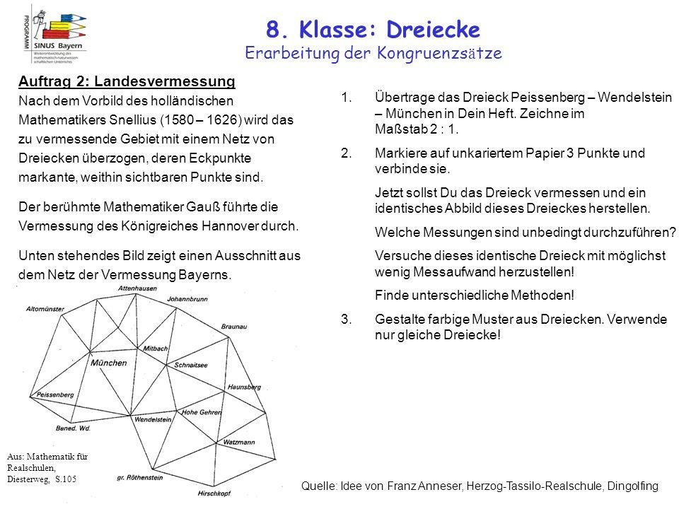 8. Klasse: Dreiecke Erarbeitung der Kongruenzsätze