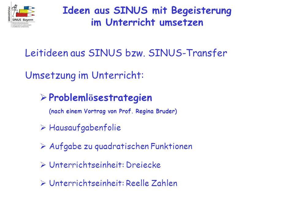Ideen aus SINUS mit Begeisterung im Unterricht umsetzen