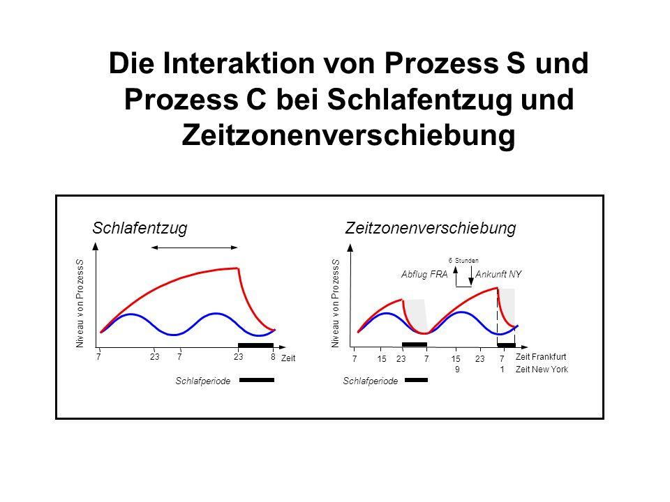 Die Interaktion von Prozess S und Prozess C bei Schlafentzug und Zeitzonenverschiebung