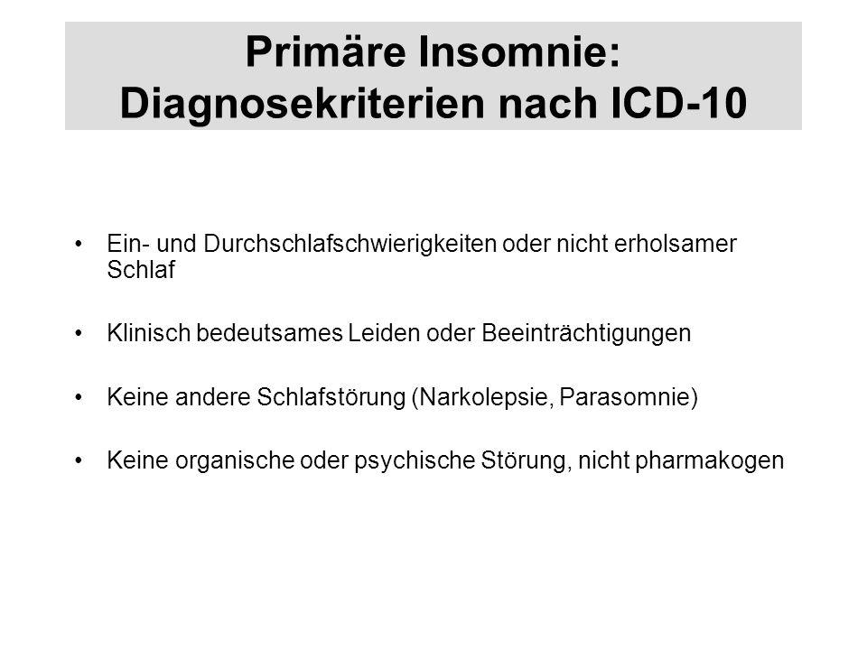 Primäre Insomnie: Diagnosekriterien nach ICD-10