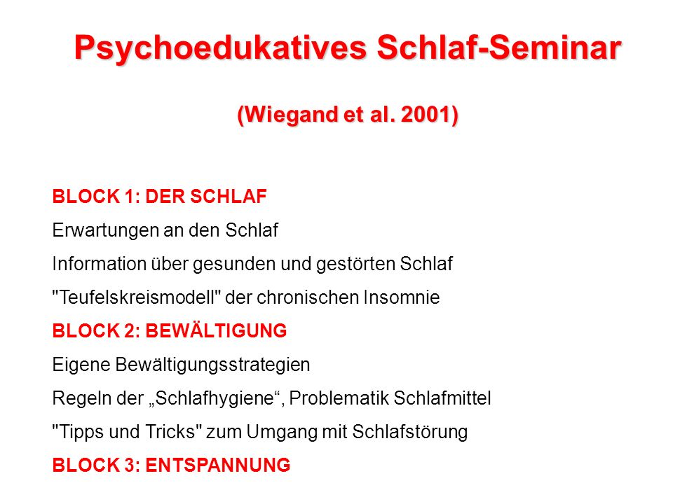 Psychoedukatives Schlaf-Seminar