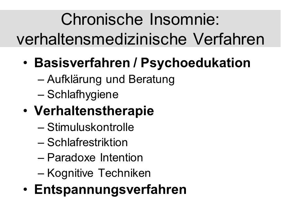 Chronische Insomnie: verhaltensmedizinische Verfahren