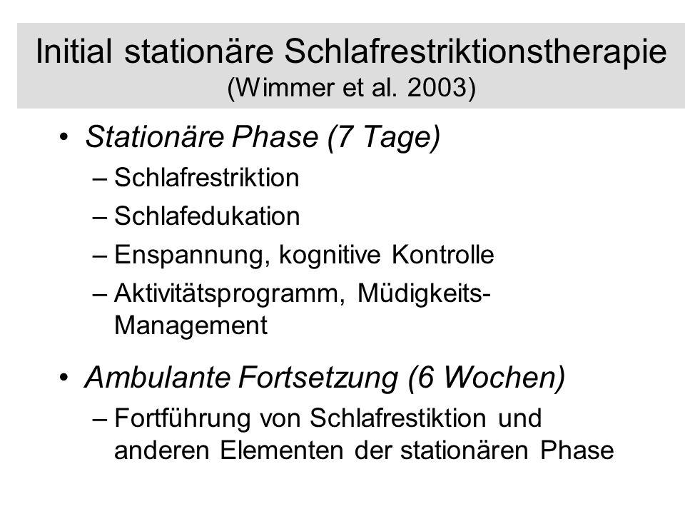 Initial stationäre Schlafrestriktionstherapie (Wimmer et al. 2003)