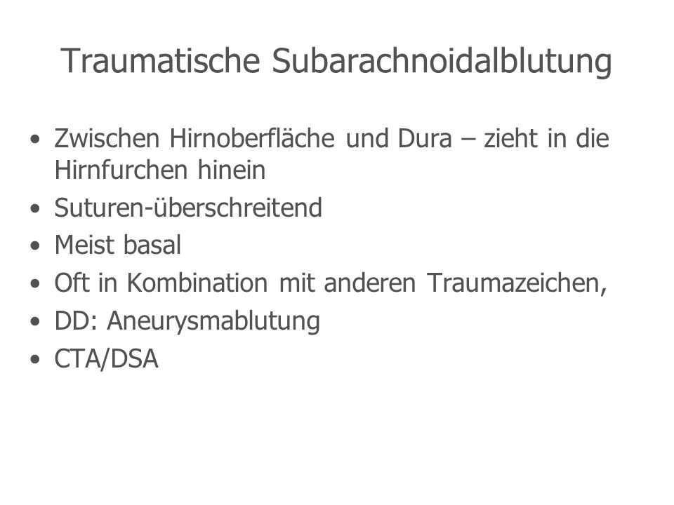 Traumatische Subarachnoidalblutung