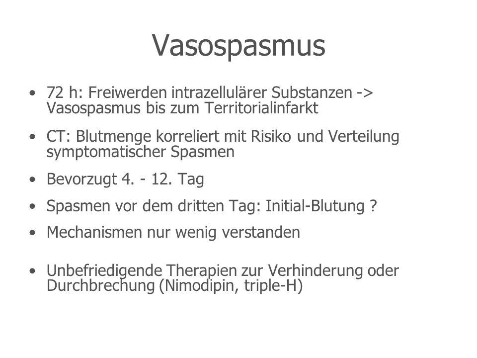 Vasospasmus 72 h: Freiwerden intrazellulärer Substanzen -> Vasospasmus bis zum Territorialinfarkt.