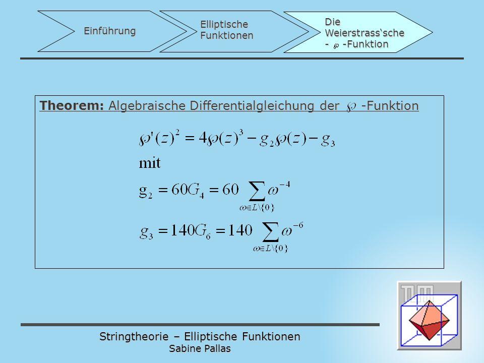 Theorem: Algebraische Differentialgleichung der -Funktion