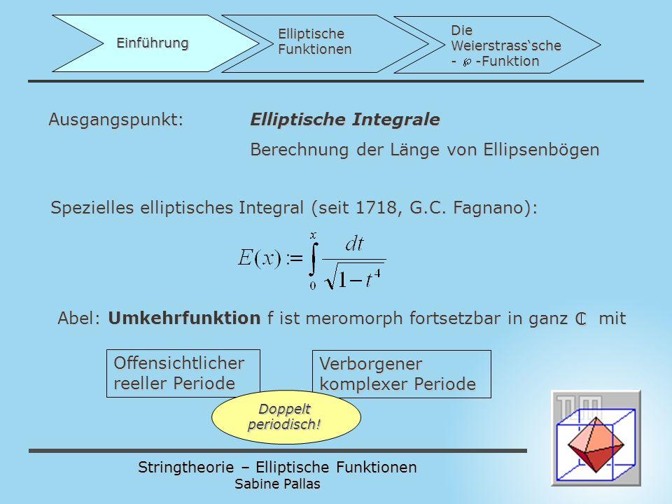 Ausgangspunkt: Elliptische Integrale