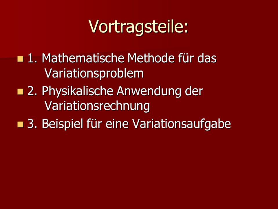 Vortragsteile: 1. Mathematische Methode für das Variationsproblem