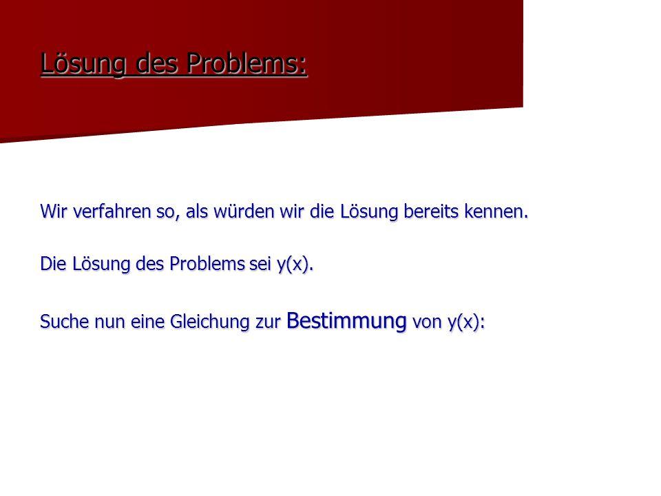 Lösung des Problems: Wir verfahren so, als würden wir die Lösung bereits kennen. Die Lösung des Problems sei y(x).