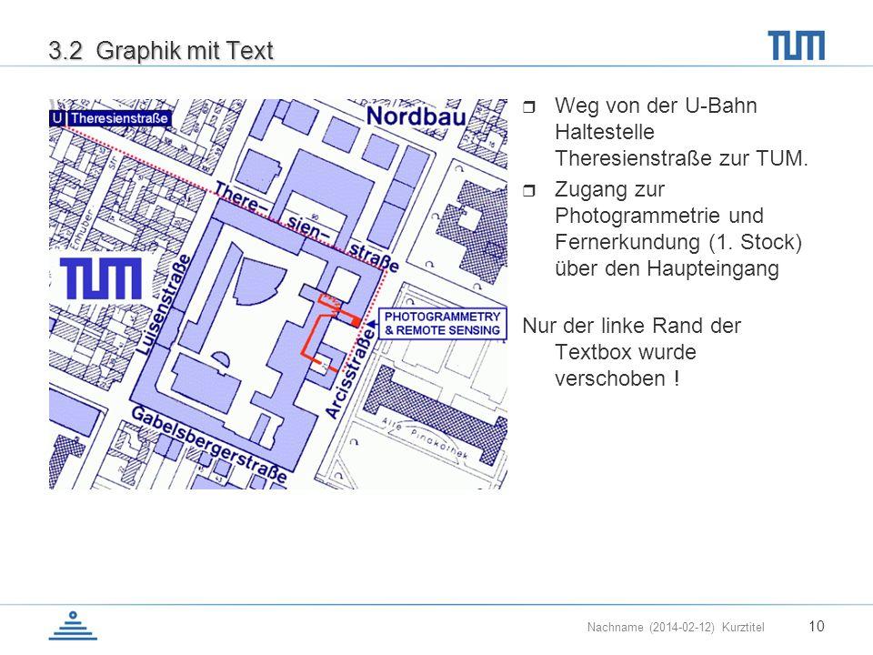 3.2 Graphik mit Text Weg von der U-Bahn Haltestelle Theresienstraße zur TUM.