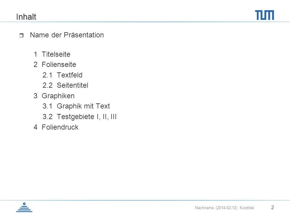 Inhalt Name der Präsentation 1 Titelseite 2 Folienseite 2.1 Textfeld