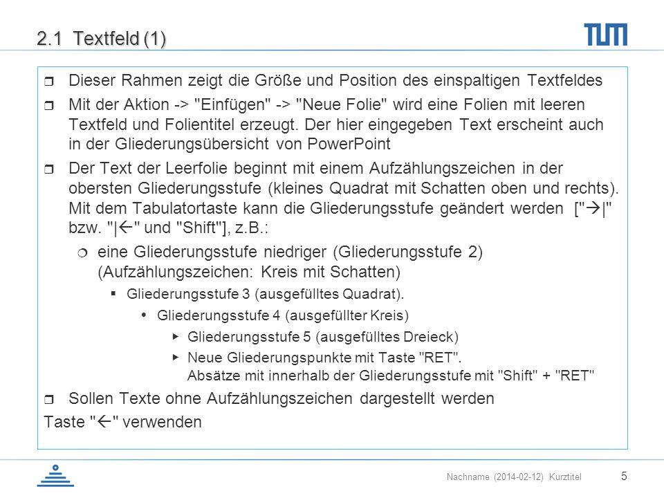 2.1 Textfeld (1) Dieser Rahmen zeigt die Größe und Position des einspaltigen Textfeldes.