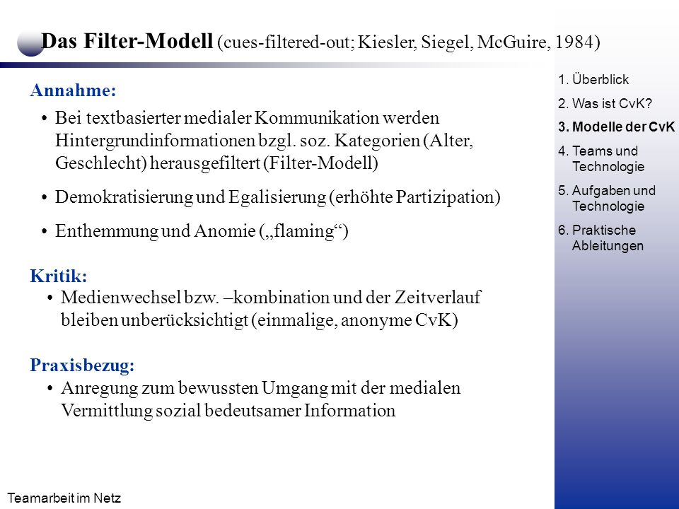 Das Filter-Modell (cues-filtered-out; Kiesler, Siegel, McGuire, 1984)