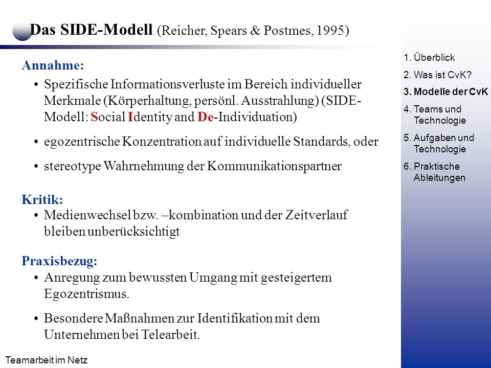 Das SIDE-Modell (Reicher, Spears & Postmes, 1995)